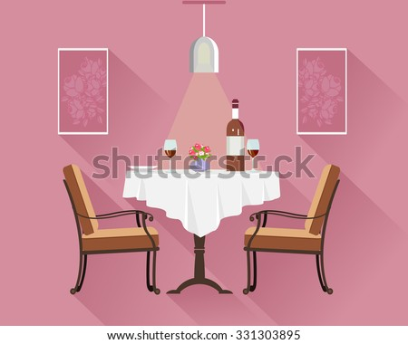 Flat Style Round Restaurant Table For Two With White Cloth Wine Glasses Bottle Of