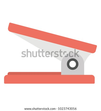 Flat vector icon design of a tool to bind together papers called stapler