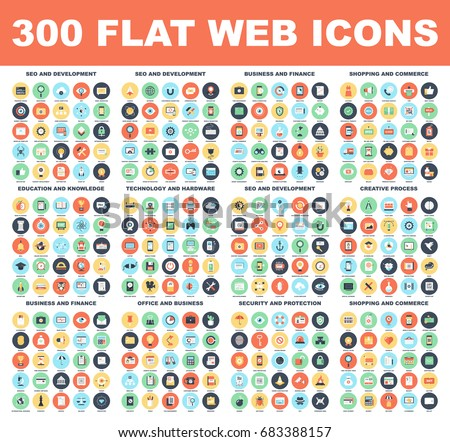 300 Flat web icons - SEO and development, creative process, business and finance, office and business, security and protection, shopping and commerce, education and knowledge, technology and hardware