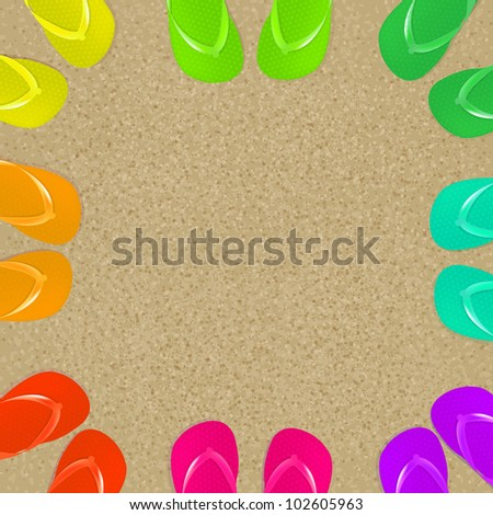 8 Flip Flops And Sand, Vector Illustration