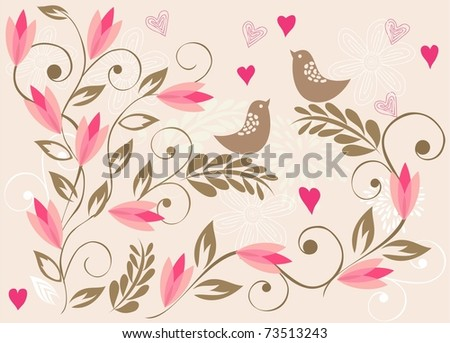 floral background with birds