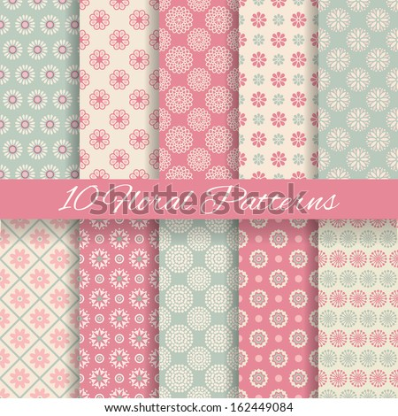 10 Floral different vector seamless patterns (tiling). Pink and blue shabby color. Endless texture can be used for printing onto fabric and paper or scrap booking. Flower abstract shape.