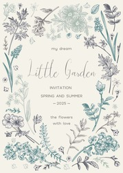 Floral frame with spring and summer garden plants.  Little garden. Vector botanical illustration.  Wedding invitation with flowers. Vintage style. Dusty colors.