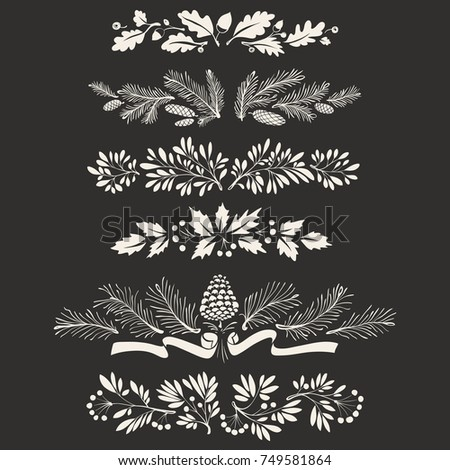 Floral Hand drawn Christmas Decorative Dividers and Borders with Mistletoe Leaves, Fir Branches and Twigs
