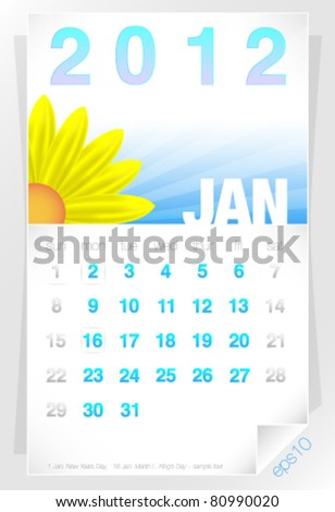 2012 Floral January Calendar