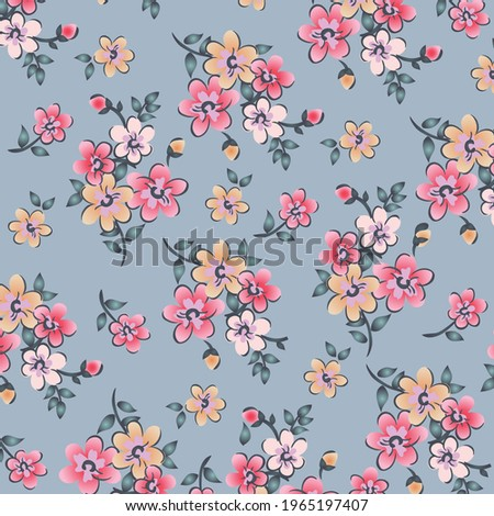 Floral pattern in small colorful flowers. Liberty style. Floral seamless background for fashion prints. Ditsy print. Seamless vector texture. Spring bouquet.