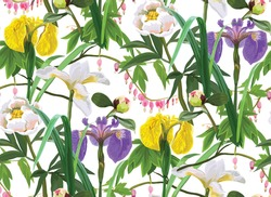 Floral seamless pattern with irises and peonies. Vector stock illustration. Floral background