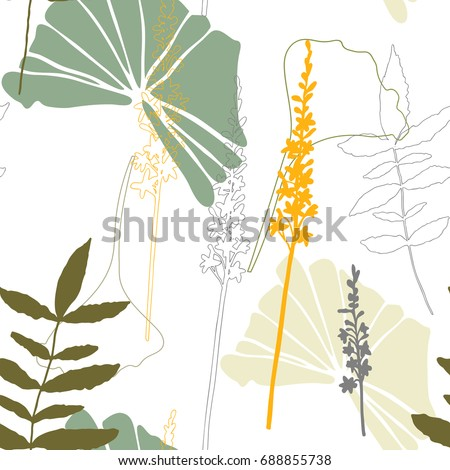 Floral vector seamless pattern with hand drawn agrimony flowers  and tropical  leaves in pastel colors. Simple hand drawn leaves and flowers outlines .