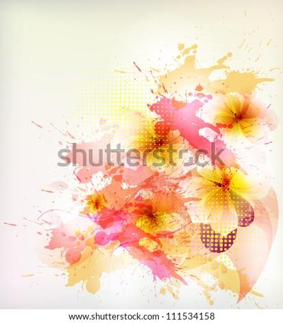 flower in  colorful ink splattered background