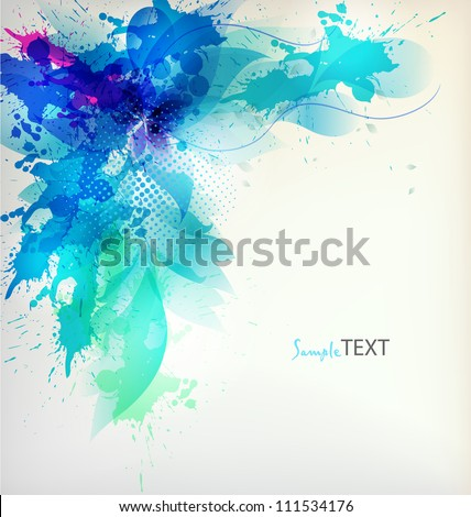 flower in  colorful ink splattered background. Vector design