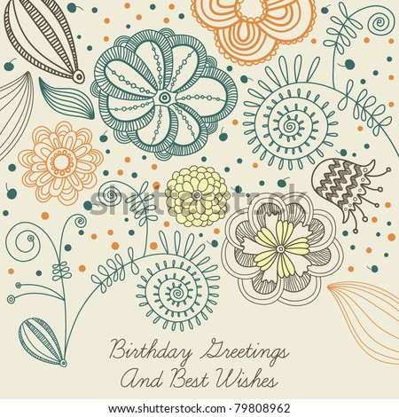 stock vector : flowers birthday card design background