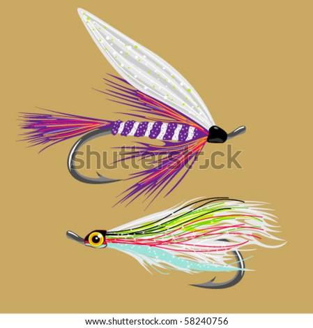 stock vector : 2 fly-fishing flies VECTOR