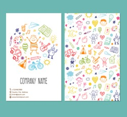 flyer brochure vector template with doodle children drawing