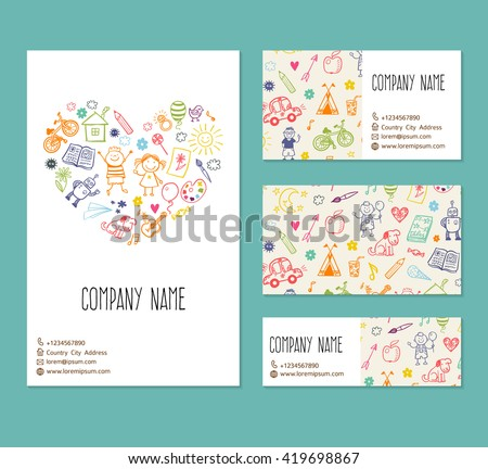 flyer, business card, banner, brochure vector template with doodle children drawing
