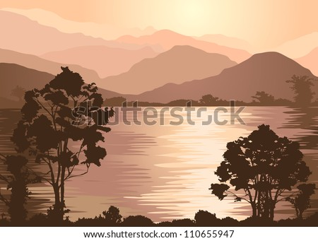Foggy mountains and lake. Fale Illustrator 8
