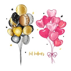 Foil  Balloons Decoration Set.  For Birthday, Party and Valentines day. Color sketch. Vector vintage illustration. Clipart.