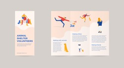 3-fold brochure for animal shelter volunteer campaign. Vector illustration layout template with characters, animals, playing, feeding with dogs and cats. Promotional materials for adoption event.