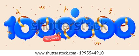1000000 followers thank you 3d blue balloons and colorful confetti. Vector illustration 3d numbers for social media 1M followers, Thanks followers, blogger celebrates subscribers, likes