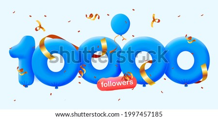 10000 followers thank you 3d blue balloons and colorful confetti. Vector illustration 3d numbers for social media 10K followers, Thanks followers, blogger celebrates subscribers, likes