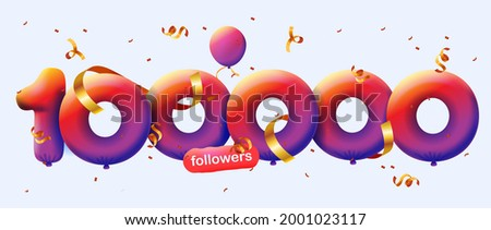 100000 followers thank you 3d blue balloons and colorful confetti. Vector illustration 3d numbers for social media 100K followers, Thanks followers, blogger celebrates subscribers, likes