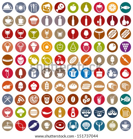 100 food and drink icons set, color vectors collection.