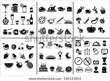 77 food and drink icons set for