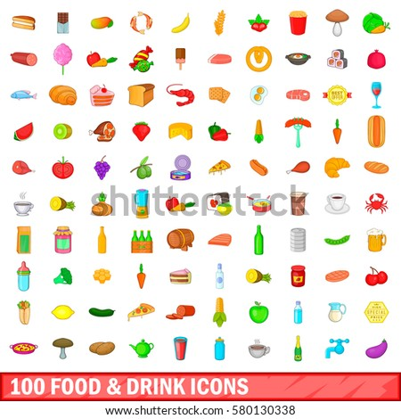 100 food and drink icons set in