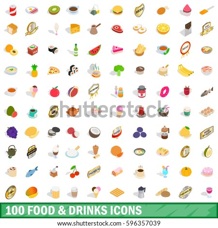 100 food and drinks icons set