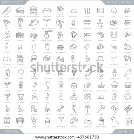 100 food and restaurant thin line icons