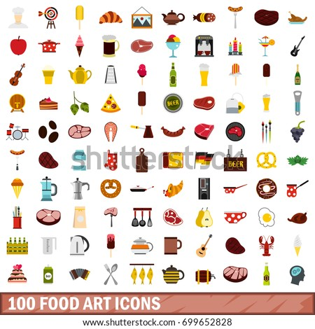 100 food art icons set in flat style for any design vector illustration