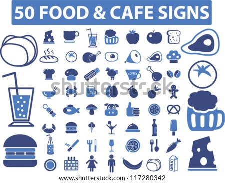 50 food & cafe icons set, vector