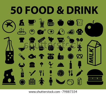 50 food & drink icons, signs, vector illustrations