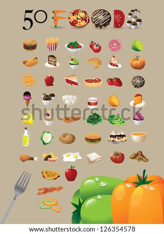 50 Food Icon Symbol Set EPS 8 vector grouped for easy editing. No open shapes or paths.