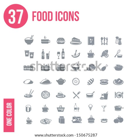 37 food icons set