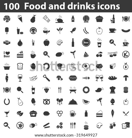 100 Food icons set black. Illustration of 100 food icons vector isolated on white background simple