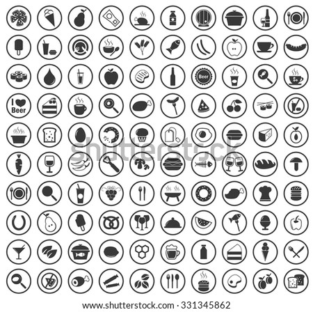 100 Food icons set. Illustration of 100 food vector icons for web and digital