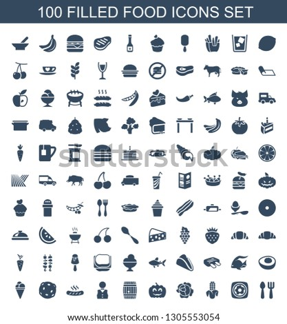 100 food icons. Trendy food icons white background. Included filled icons such as fork and spoon, fried egg and bacon, corn, cabbage, pumpkin haloween. food icon for web and mobile.