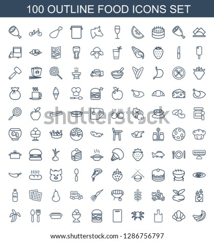 100 food icons. Trendy food icons white background. Included outline icons such as banana, shell, chopping board, octopus, cutting board, double burger. food icon for web and mobile.