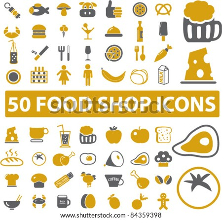 50 food shop icons, signs, vector illustrations set