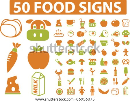 50 food signs, icons, vector