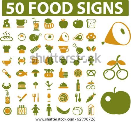 50 food signs. vector