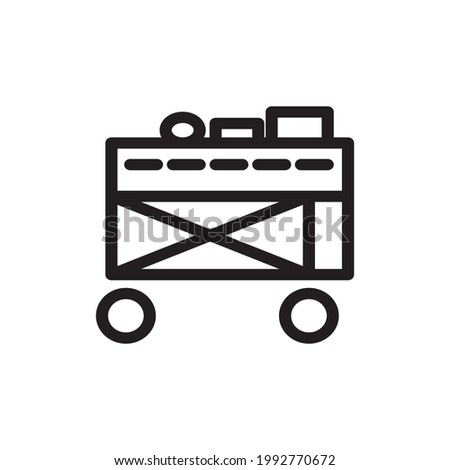 food trolley icon or logo vector illustration of isolated sign symbol, vector illustration with high quality black outline.