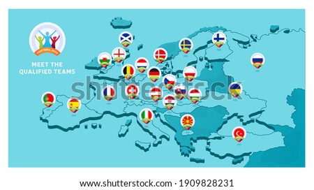 2020 football championship Vector illustration with a map of Europe with highlighted countries flag that qualified to final stage and logo sign on white background