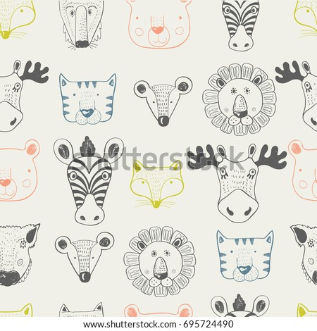 forest animal seamless pattern.hand drawn vector illustration/can be used for kid's,baby's shirt design,fashion print design,fashion graphic,t-shirt,tee