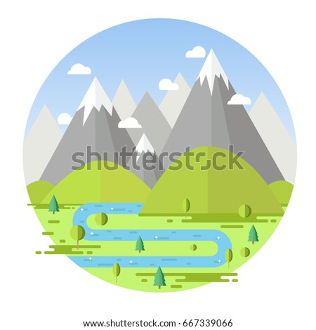 forest  river  and mountains