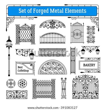 forged metal elements black