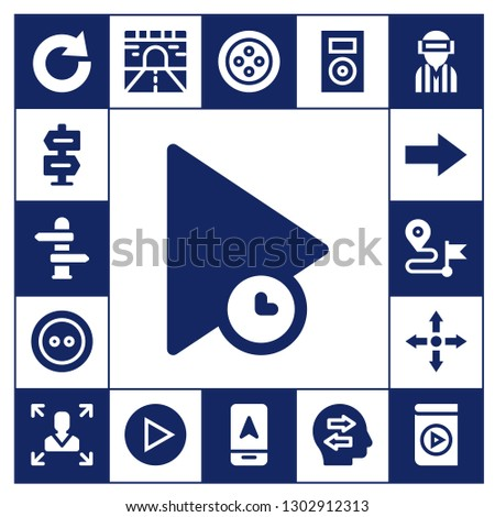 forward icon set. 17 filled forward icons.  Simple modern icons about  - Redo, Direction, Play, Button, Next, Directions, Decision making, Road, Arrow, Music player, Confused
