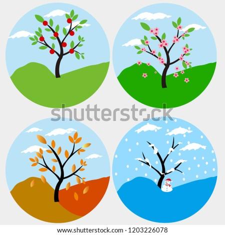 four season vector illustration