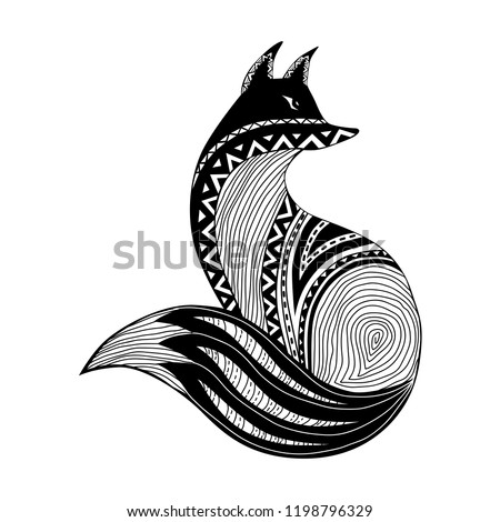 6068179a fox tattoo tribal. It may be used for design of a t-shirt,