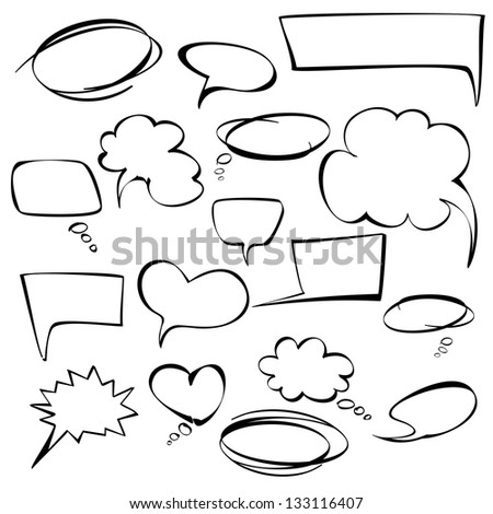 frames and bubbles collection   cartoon vector  illustration